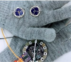 computerized gloves project from CSCI 11 eTextiles (WS 2018)