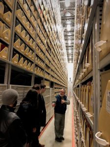 students in research stacks--HIST 30 Workshop in Independent Research (WS 2019)