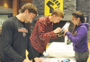 students working on lego project--MATH 12 The Mathematics of Lego Bricks (WS 2019)