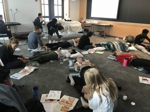 students practicing self-care--MATH 15 Self Care: Exploring Acupressure, Reflexology and Aromatherapy (WS 2019)