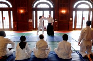 students watching an Aikido demonstration--PSCI 16 The Martial Art of Politics--Aikido, Gandhi, and King (WS 2019)