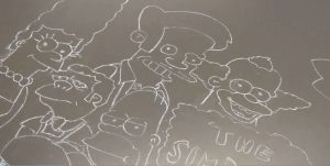 The Simpsons chalk drawing--PHIL 12 Bioethics According to The Simpsons (WS 2019)